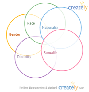 5 interlocking circles: sexuality, disability, gender, race, nationality