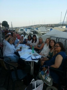 At dinner by Lake Geneva