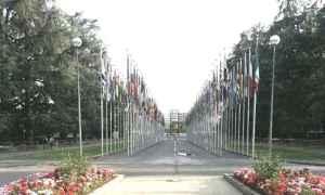UN flags Palais des Nations