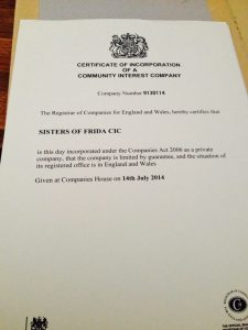 Certificate for Sosters of Frida as a Community Interest Company