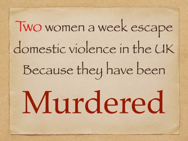 2 women a week escape domestic violence in UK because they have been murdered