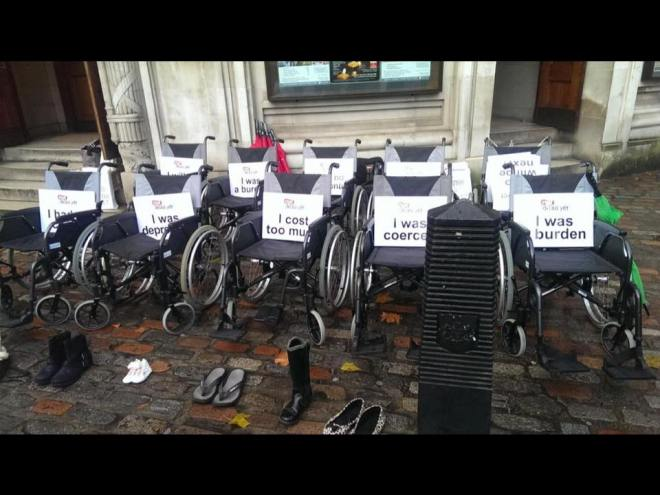empty wheelchairs and shoes with notes on them